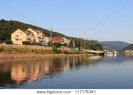 View Towards Bad Schandau From River Elbe, Saxon Switzerland