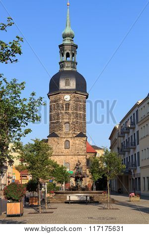St. Johns Church And Sendig Fountain In Bad Schandau, Saxon Switzerland