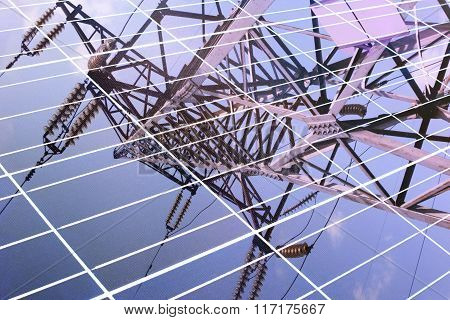 transmission tower reflected in solar panel