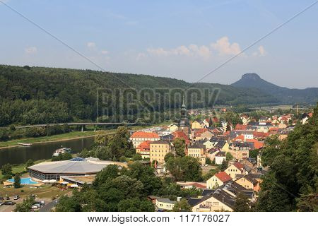 Cityscape Of Bad Schandau With River Elbe And Mountain Lilienstein In Saxon Switzerland