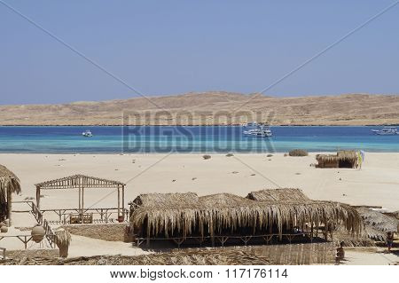 Island And Sandy Beach On The Red Sea