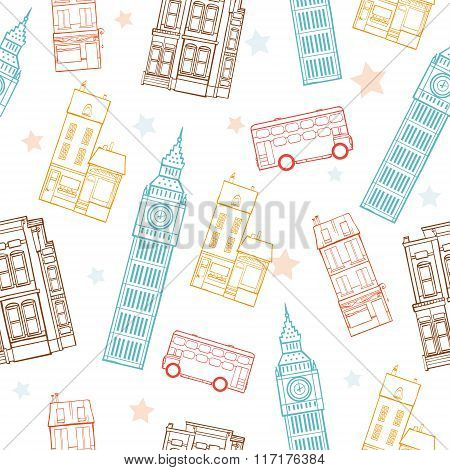 Vector London Streets Colorful Seamless Pattern