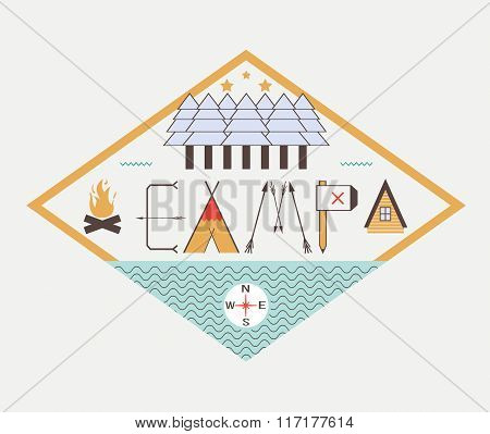 Vector camping logo. Hand drawn concept with landscape design nature around. Graphical camp illustra