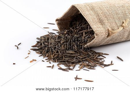 Heap Of Wild Rice On White Background