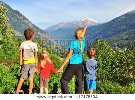 Family In Mountains, Val D'aosta, Italy