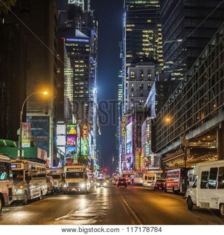 Times Square, Featured With Broadway Theaters By Night