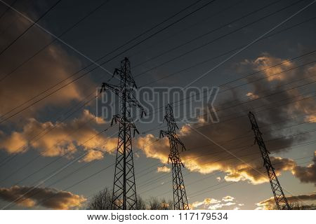 Power lines on a background of clouds