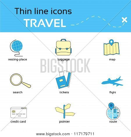 Travel Icons Thin Line Set Collection