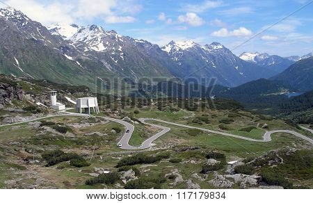 Serpentine Road To The St. Bernardino Pass In Switzerland.