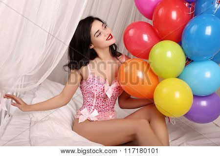 Girl Wears Elegant Lingerie Dress,holding A Lot Of Colorful Air Balloons