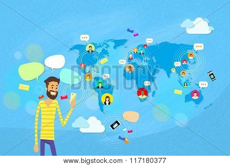 Man Chatting Texting, Social Network Communication Concept World Map