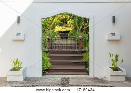 Decorative Arched Gateway To A Garden