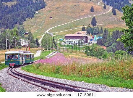 Montblanc Tramway In Mountains