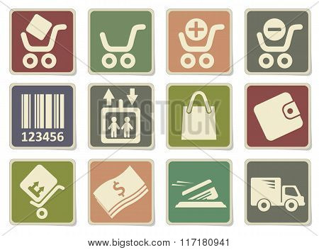 Shopping icons set