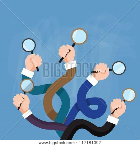 Hands Group Holding Magnifying Glass Search Choose