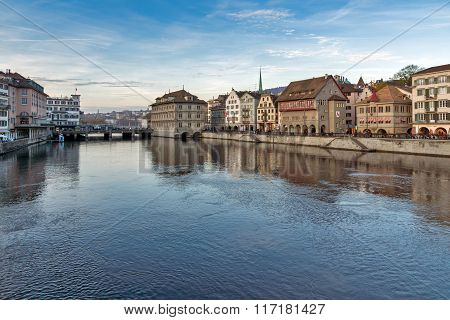 Panorama of city of Zurich and Limmat River, Switzerland