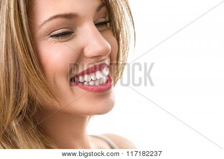Beautiful healthy smile, fresh woman with great teeth