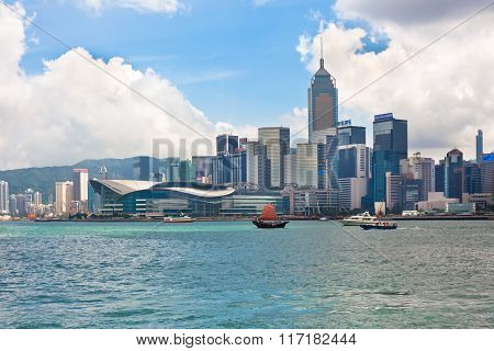 Sea Front View With Luxurious Buildings In Hong Kong