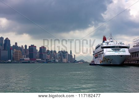 Cruise Ship On Victoria Harbor In Hong Kong