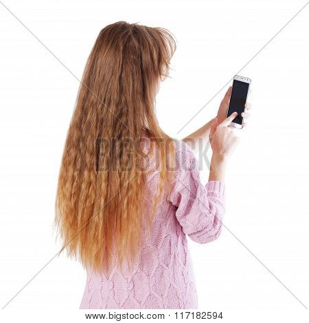 Woman Using App On Smart Phone Isolated