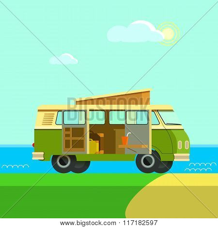 Vector Illustration Retro Camper Van.the Journey By Car. Small Car To Travel. Retro Car Rides On Nat