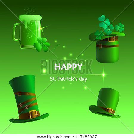 Set of St. Patrick's Day symbols. Illustration With Hat,glass, Clover Leaf, Cylinder