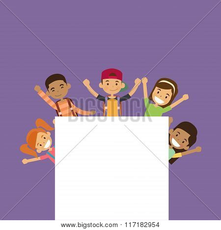 School Children Group With Empty Copy Space