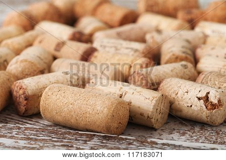 Wine corks as background, selective focus