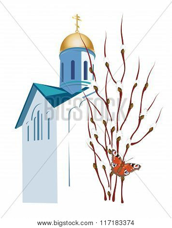 Easter Illustration With Orthodox Church