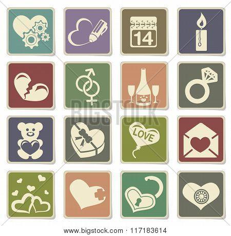 love messages icon set