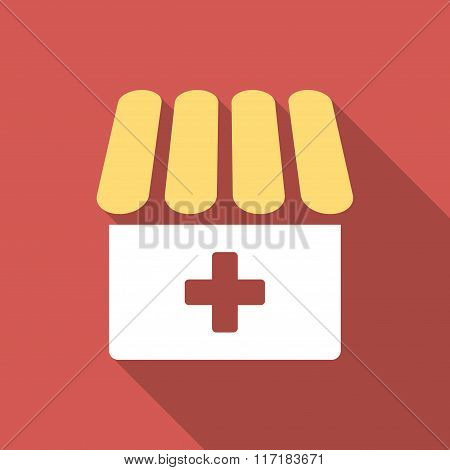 Drugstore Flat Square Icon with Long Shadow