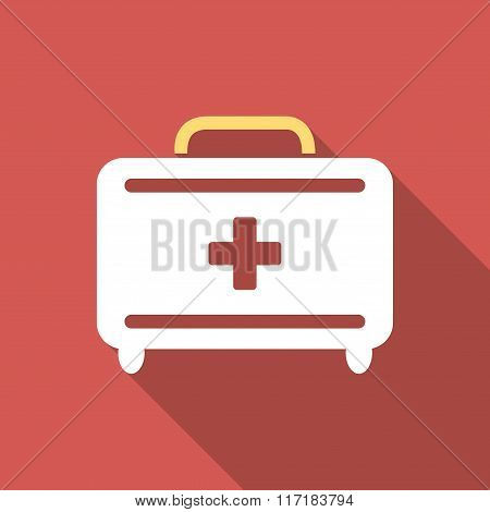 First Aid Toolkit Flat Square Icon with Long Shadow