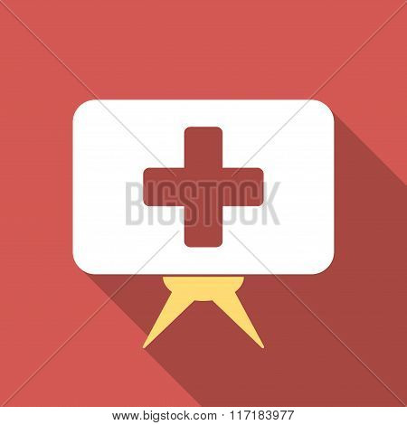 Health Care Presentation Flat Square Icon with Long Shadow