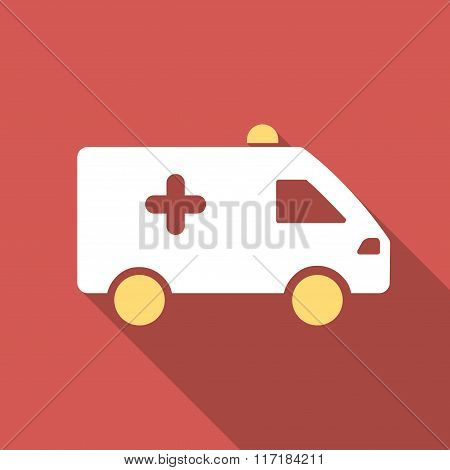 Hospital Car Flat Square Icon with Long Shadow