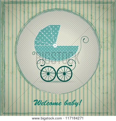 Baby shower announcement, invitation, birthday retro card