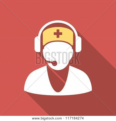 Hospital Receptionist Flat Square Icon with Long Shadow