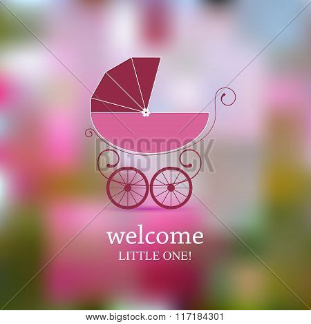 Baby shower announcement, invitation, birthday retro card with baby carriage