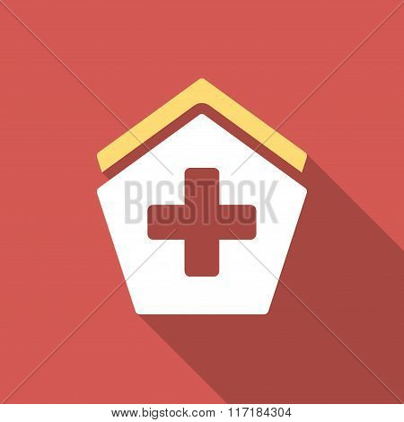 Hospital Flat Square Icon with Long Shadow
