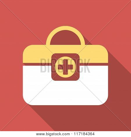 Medic Case Flat Square Icon with Long Shadow