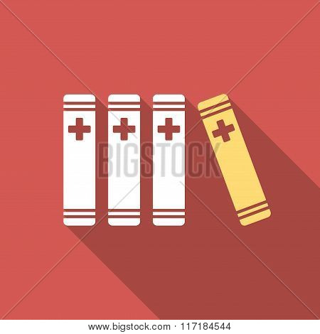 Medical Books Flat Square Icon with Long Shadow