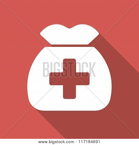 Medical Capital Flat Square Icon with Long Shadow