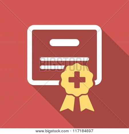 Medical Certification Flat Square Icon with Long Shadow