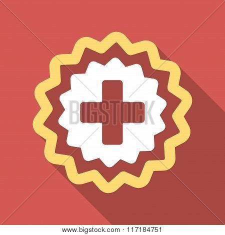Medical Cross Stamp Flat Square Icon with Long Shadow