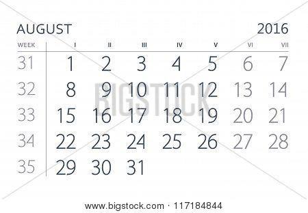 August. Calendar sheet. Calendar of the year two thousand sixteen.