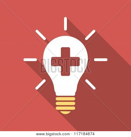 Medical Electric Lamp Flat Square Icon with Long Shadow