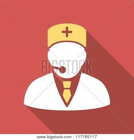 Medical Manager Flat Square Icon with Long Shadow