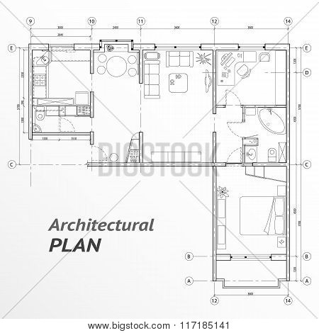 Architectural set of furniture on apartment plan with sizes. Interior design elements for house, kit