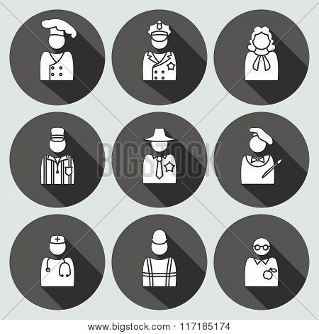 People profession avatar icon set. Judge artist referee doctor teacher sherif cook builder worker po