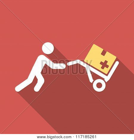 Medical Shopping Flat Square Icon with Long Shadow