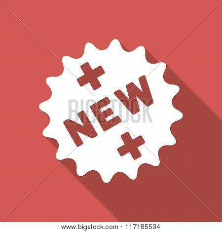 New Medical Sticker Flat Square Icon with Long Shadow